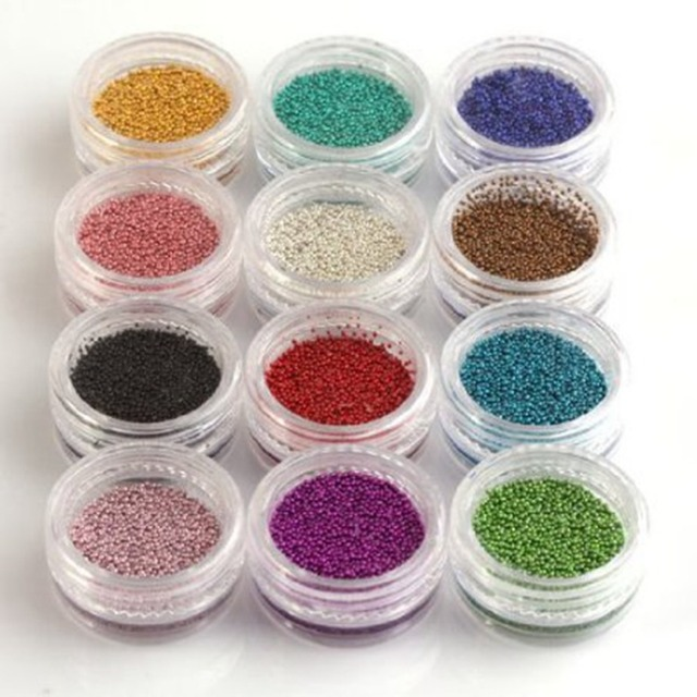 12 Colores/Caja de Mini Grano de Moda Del Arte Del Clavo Microperlas ...