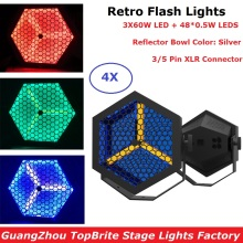 4Pcs Flat Par Lights 3X60W Warm White + 48X0.5W RGB 3IN1 LED Retro Flash Lights DMX Stage Par Cans 3 PIN XLR Connector Dj Lights new professional indoor 54 x 3w rgb 3in1 flat led par can lights can 110v 240v energy saving led par light tiptop 20xlot