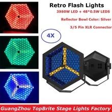цены 4Pcs Flat Par Lights 3X60W Warm White + 48X0.5W RGB 3IN1 LED Retro Flash Lights DMX Stage Par Cans 3 PIN XLR Connector Dj Lights
