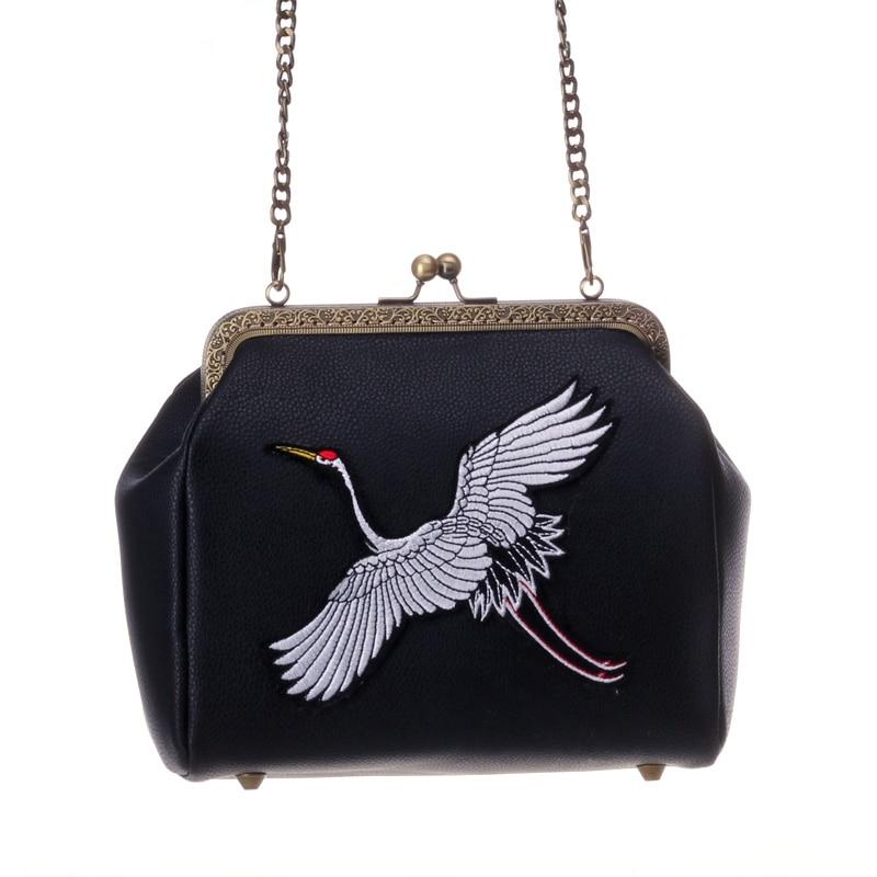 Angelatracy 2018 Crane Clutch Bags for Women Embroidery Bird Shoulder Bag Black Coin Purse Fashion Animal Vintage Wallet PU New