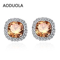 Fashion Jewelry High Quality Stud Earrings Platinum Plated Square Shape Magic Brown Glass Zircon Earring Gift