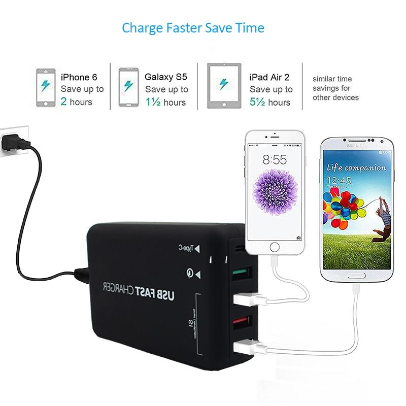 INGMAYA Pengisian Cepat 3.0 USB Charger 5 Port 6A Tipe C Stasiun - Aksesori dan suku cadang ponsel - Foto 5