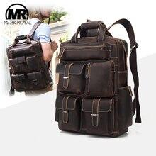 MARKROYAL мужской брендовый роскошный рюкзак, винтажный кожаный рюкзак для ноутбука, школьный рюкзак для компьютера, рюкзак с несколькими карманами для колледжа