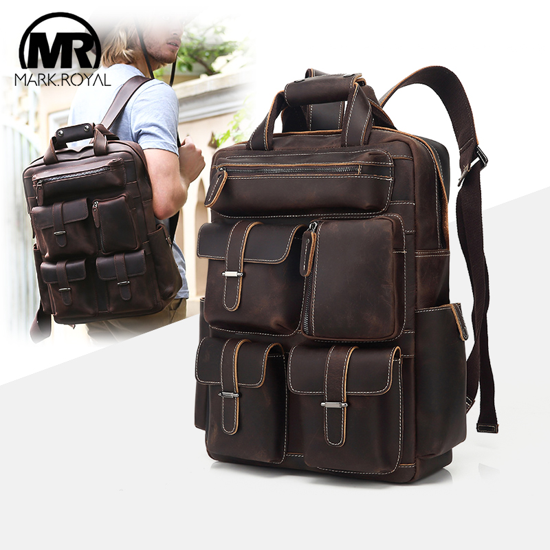 MARKROYAL hommes marque de luxe sac à dos Vintage sac à dos en cuir pour ordinateur portable école ordinateur sacs à dos multi-poches collège sac à dos 2019