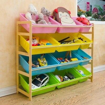 Children's toy Storage rack Categories Kindergarten Solid wood toy cabinet Storage box