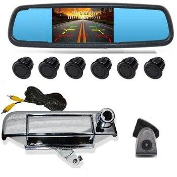 "4.3"" LCD MIRROR REAR PARKING SENSOR camera 6Sensor Reversing Radar Detector Car Parking Assistance Alarm System FOR HILUX VIGO"