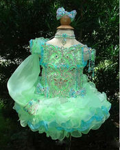 2016 Pretty Glitter Flower Girls Dresses One Sleeve Toddler Mini Cupcakes Organza Ball Gown Little Kid Wedding Pageant Dresses