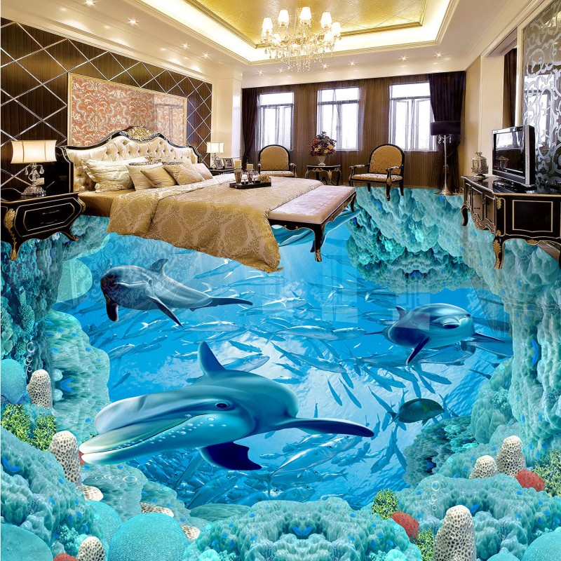 Free shipping custom Underwater World Dolphin 3D Floor moisture proof self-adhesive wallpaper floor living room bathroom