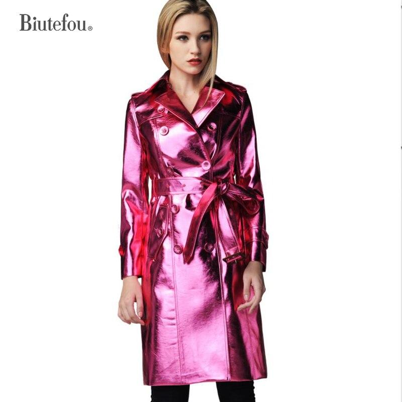 2018 Primavera e No outono de couro falso de metal cor casacos longos moda feminina emendados casacos cintura ajustável