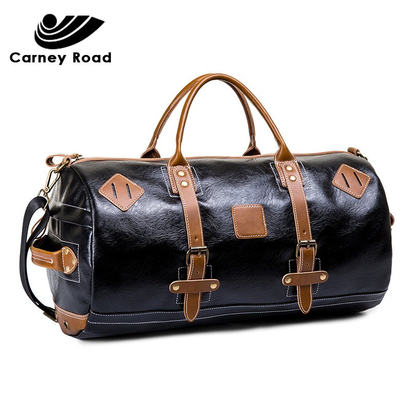 Brand 100% Waterproof Leather Men Travel Bags Duffel Bag Large Capacity Vintage Handbag Weekend Bag 2019 New Design
