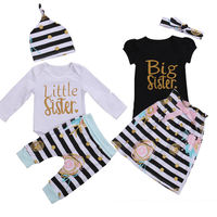 Matching Clothes Big Sister T-shirt Little Sister Romper Pants Hat Outfits Set