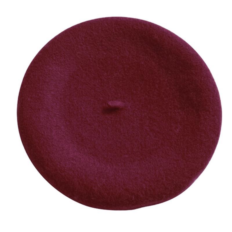 Новинка, женская зимняя шапка, берет, женская шапка из смеси шерсти и хлопка, 16 цветов, новые женские шляпы, шапка s, черная, белая, серая, розовая, Boinas De Mujer - Цвет: Wine Red