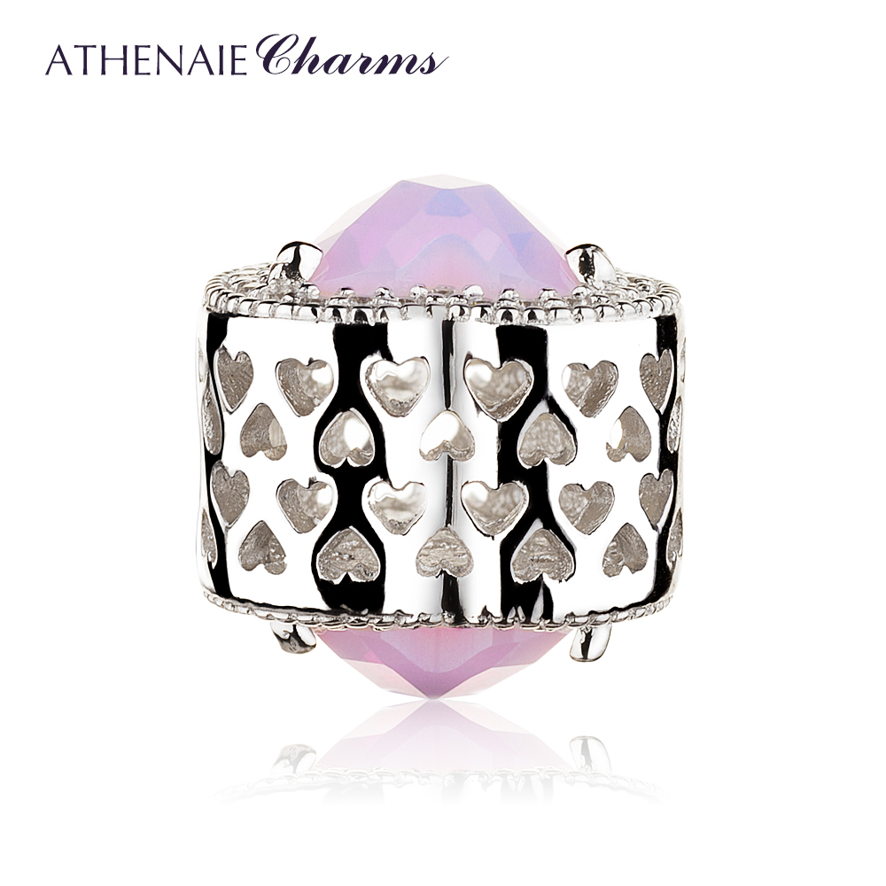 Image 3 - ATHENAIE 925 Sterling Silver Radiant Hearts Charms Beads Pave Opalescent Pink Crystal & Clear CZ Fit Bracelets Women Christmas-in Beads from Jewelry & Accessories