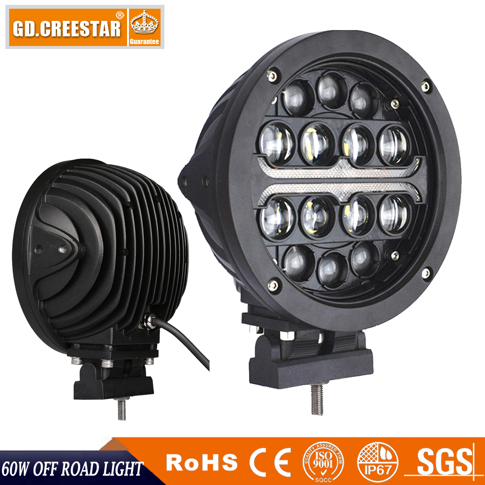 GDCREESTAR 60w 7inch Round offroad driving led work light for 4x4 Spotlights truck led Night lights x1pc