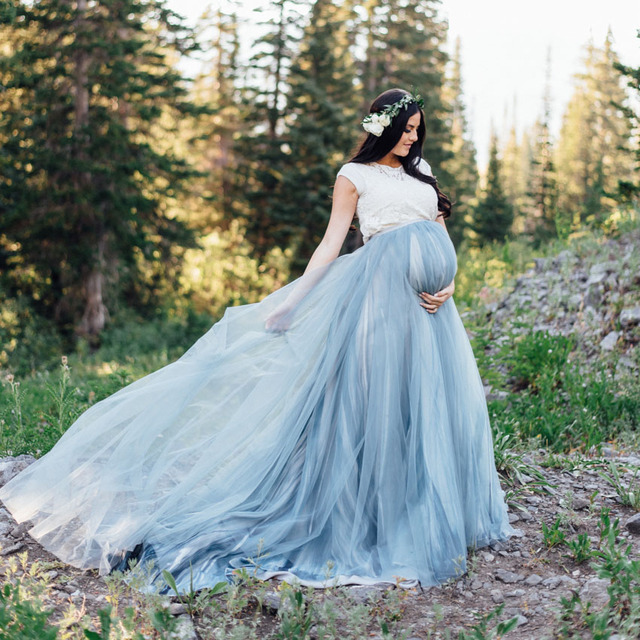 99dc1bd0fd Cozy Pretty Elastic Dusty Blue Pregnant Long Tulle Skirts For Women To  Shoot Custom Made Modest Pregancy Tulle Skirt Maternity