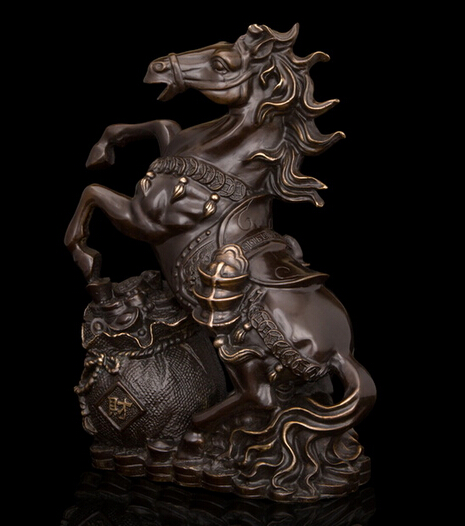China Brass Copper Lucky Feng Shui Horses sculpture Horse Art Statue