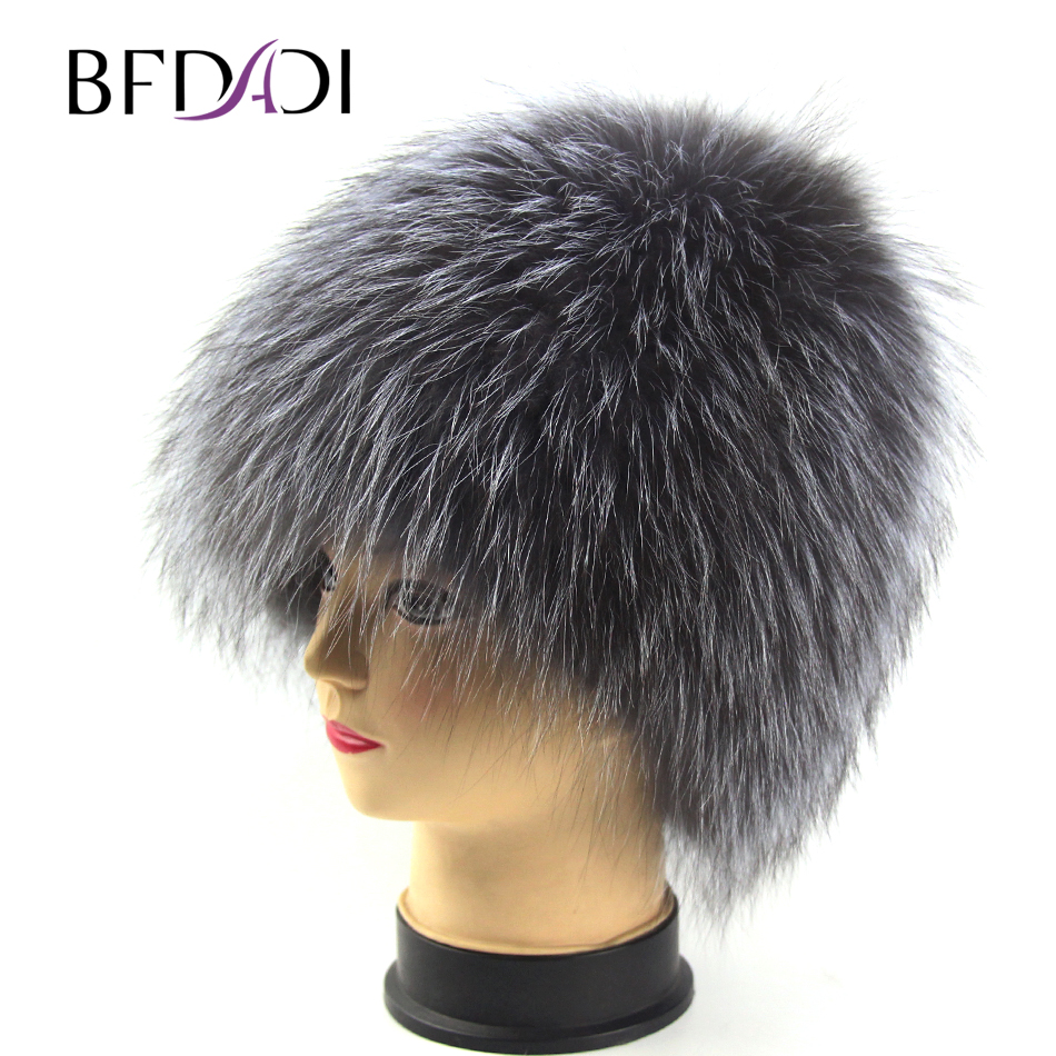 BFDADI 2019 Winter lady knitting fur cap real fox fur hat knitting silver mink fur cap female Russian woman bomer hat 666