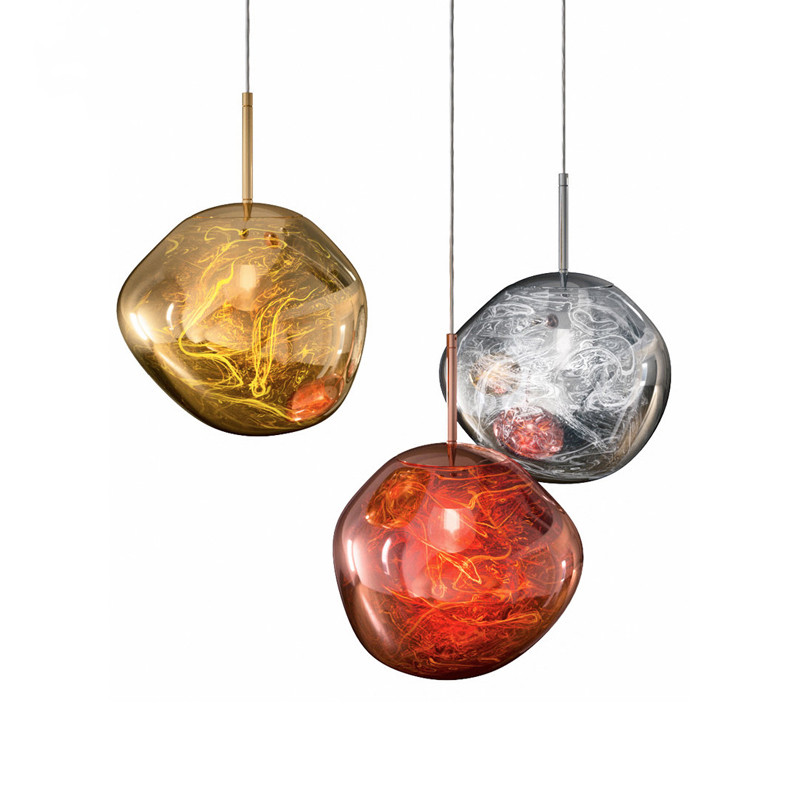 Creative Melt Glass Pendant Lights Irregular Hanging Lamp for Living Room Bedroom Bar Cafe Restaurant Home Lighting Fixtures