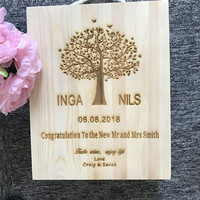 Personalized Wooden Wine Holder Box Custom Rustic Wedding Christmas Wine Gift Box Packing Box For 3