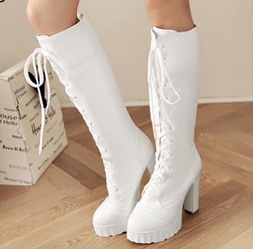 lace up knee boots fashion women thick heel riding boots Black white high  heel platform combat boots-in Knee-High Boots from Shoes on Aliexpress.com  ... 5a19e5882de3