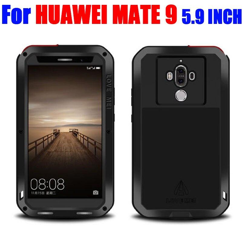Цена за Для Huawei Mate 9 5.9 дюймов оригинальные Lovemei алюминиевый металл + стекло Gorilla шок падения Водонепроницаемый чехол для Huawei Mate9 HM93