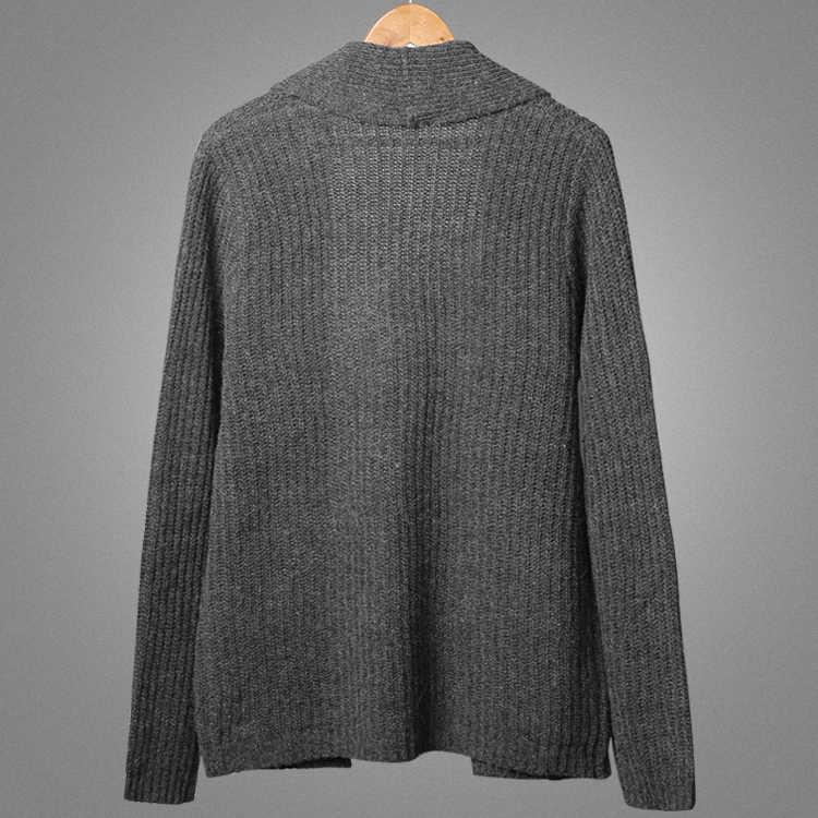 Мужской зимний свитер новый серый Тонкий Повседневный шерстяной кардиган вязаный брендовый Европейский стиль теплый вязаный кардиган для мужчин J789