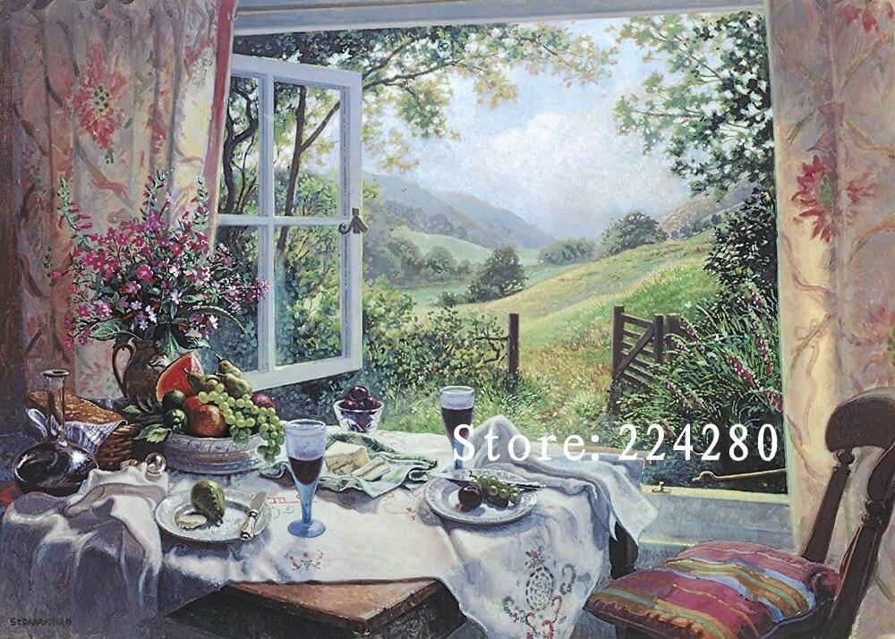 New Needlework,Cross stitch Fruit, Glass window Scenery Handmade 14CT canvas DIY,DMC,Cross stitch kits,Embroidery Art Home Decor