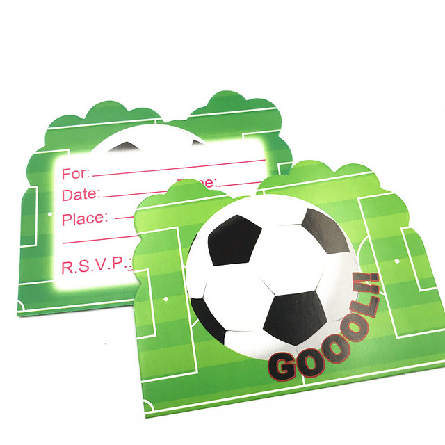 6pcs Green Football Theme Thank You Card Child Birthday Party Theme