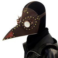 Brown Leather Rivet Spike Bird Beak Steampunk Plague Doctor Mask Anime Costume Cosplay Halloween Party Props Gothic Accessories