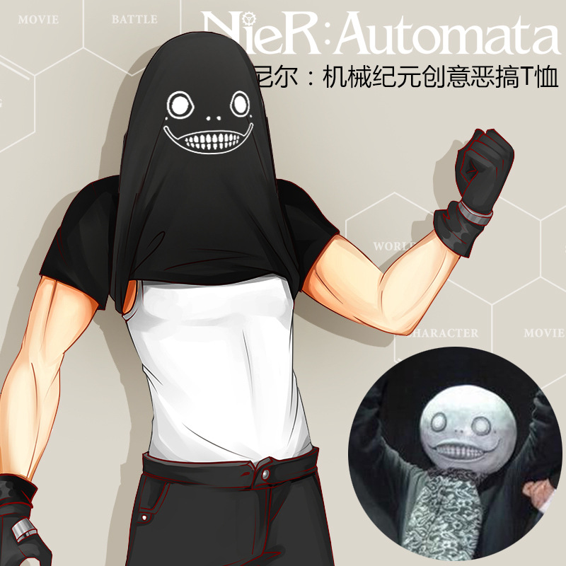 NieR Automat Creative Funny T Shirt YoRHa No. 2 Type B Cosplay Costumes Unisex Daily Black White Top  Emil Pattern Causal Tee