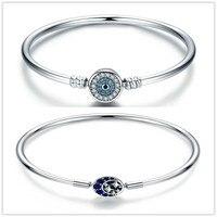 Charms 925 Sterling Silver original Blue eyes & Shinning Star Snake Chain Basic DIY Bracelet & Bangle Making Jewelry For Women