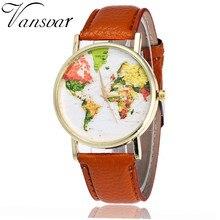 Vansvar quarzt relojes de colores de moda femenina pu de cuero mapa del mundo reloj casual mujeres se visten de pulsera relogio feminino v20
