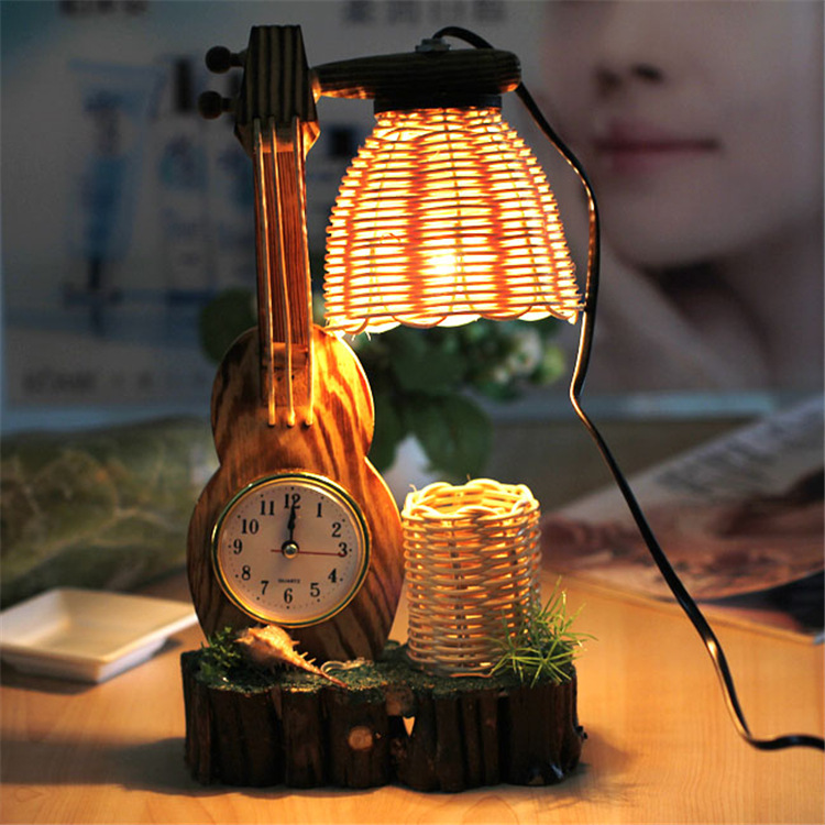 Творческий сад стиль ретро деревянные двойной спальня прикроватные лампы сосны украшения свет деревянные украшения настольные лампы lo8211