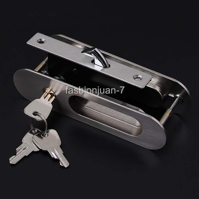Brand New Security Sliding Door Locks Mortise HookBolt Lock Set with Brass Cylinder Furniture Hardware 2 Colors : 91lifestyle