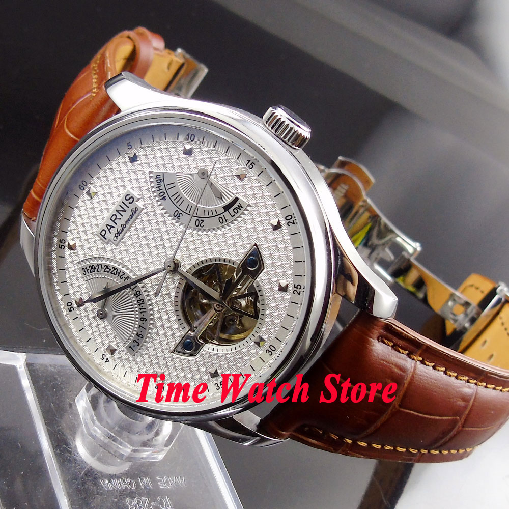 Parnis 43mm white dial power reserve date brown strap deployant clasp automatic movement men 39 s for Auto movement watches