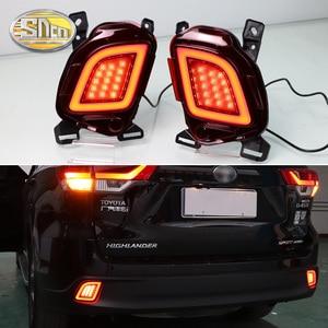 Image 1 - 2 adet Toyota Highlander 2015 için 2016 2017 2018 çok fonksiyonlu LED arka tampon ışık sis lambası fren lambası dönüş sinyal ışığı
