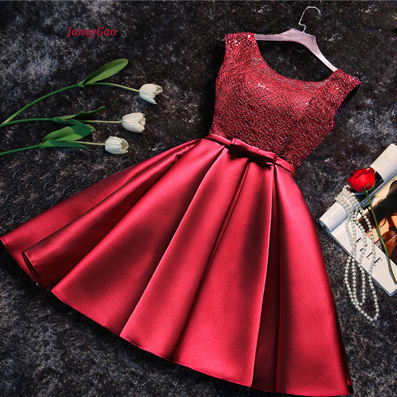 JaneyGao Short Porm   Dresses   For Women Elegant Formal Evening Party Gown Lace Up Wine Red Grey Champagne In Stock On Sale 2019