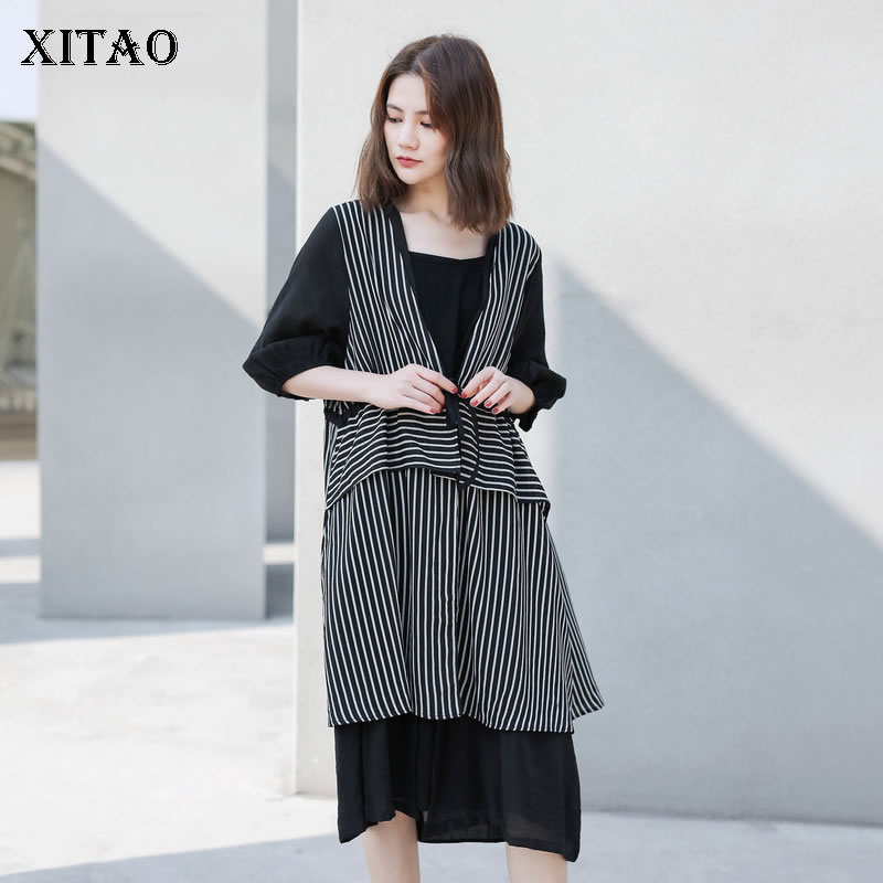 [XITAO] 2019 New Europe Casual Loose Three Quarter Sleeve V-neck Striped Asymmetric Length Fashion Women Long   Trench   LY1034