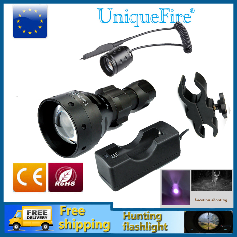 все цены на UniqueFire 1504 Hunting LED Flashlight Adjustable 3 Modes 850nm IR LED Torch+Charger+Rat Tail+Scope Mount For Outdoor Camping онлайн