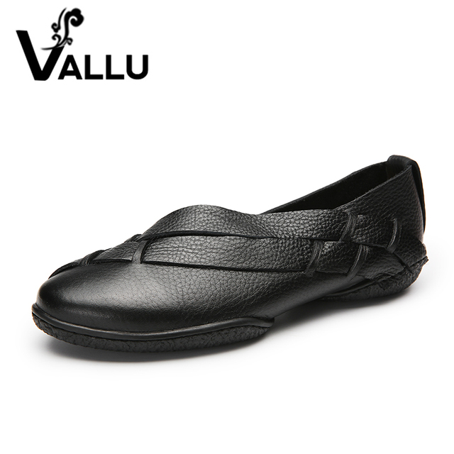 2018 VALLU Handmade Shoes Women Flats Genuine Leather Round Toes Slip On  Woman Loafers Plus Size