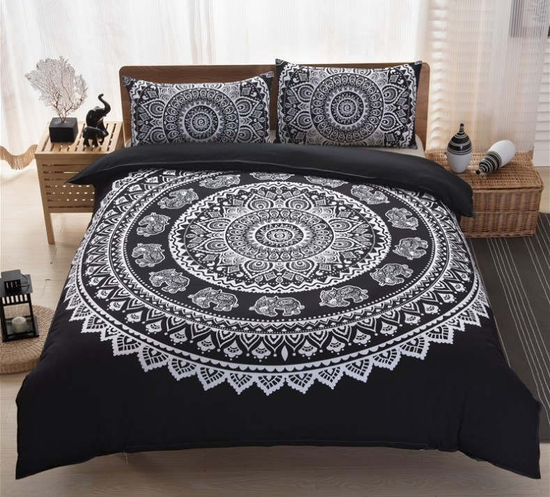 boho bedding sets mandala bohemian duvet cover qulit covers black and white king queen size full. Black Bedroom Furniture Sets. Home Design Ideas