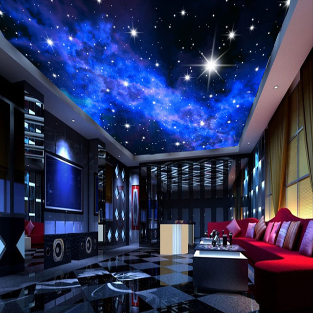 Custom 3D Wall Mural Glitter Stars Wallpaper Natural Landscape Night View  Ceiling Wall Paper For Living