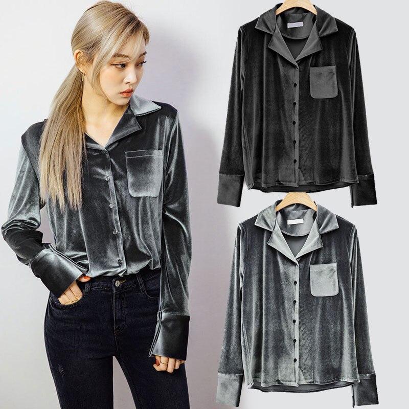 Однотонные черные Для женщин блузка отложной воротник с длинными рукавами Однобортный Топы корректирующие карман Повседневное тонкий сек... ...