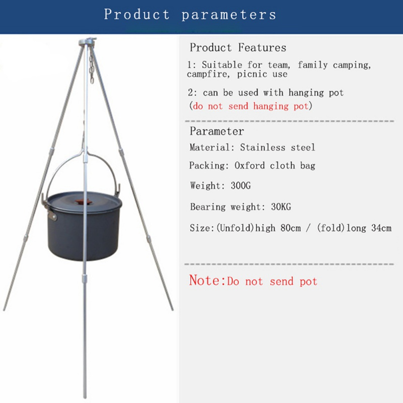 Image 5 - Outdoor camping equipment Fire Triangle Bracket Picnic BBQ Cooking Tripod Pot Hanging Camping Stove Grill Stand Holder im-in Outdoor Stoves from Sports & Entertainment