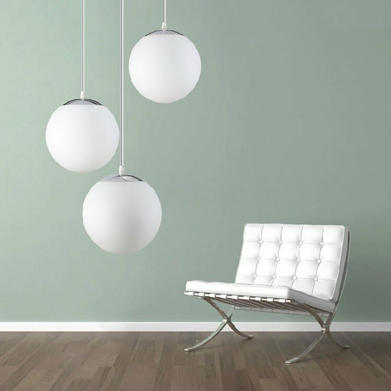 Modern Pendant Lights Gl Globe Lamps Chrome Ball Light