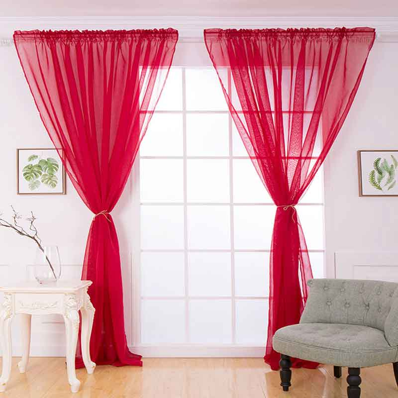 Soft Solid fabrics window curtains for Bedroom Living Room Window Door shower Terylene Tulle curtain Rod Style Home Decoration
