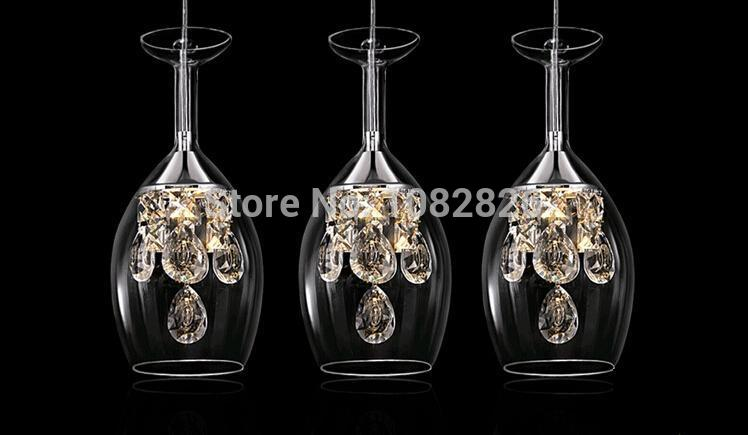 buy new modern crystal wine glass glass bar suspension lighting pendant lamp restaurant light led wine glasses from reliable pendant lamp