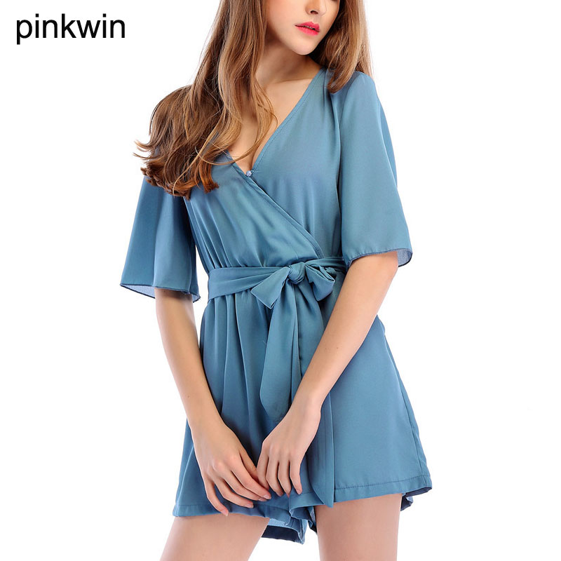 New Arrival Womens Sexy Playsuits 2018 Summer Women Solid Colors Chiffon Romper Deep V Rompers Womens Jumpsuits Shorts