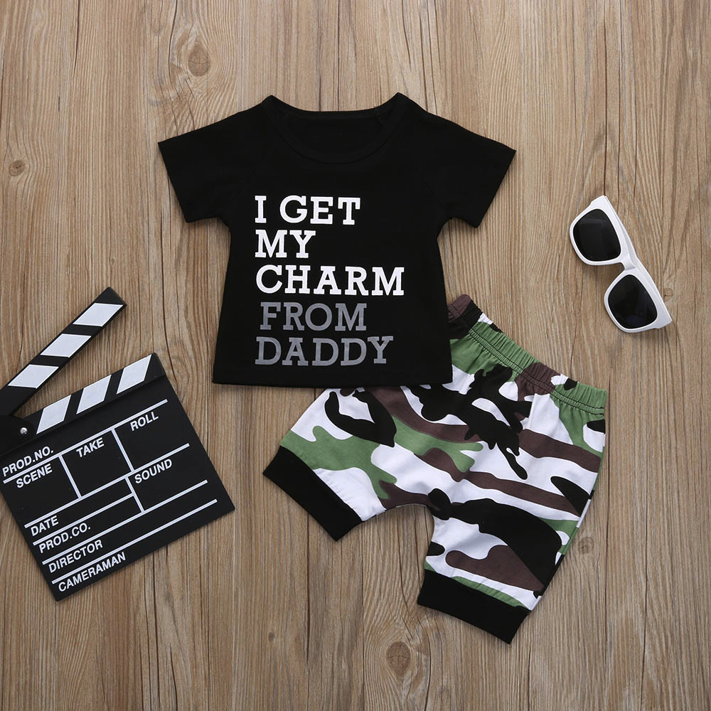 Letter Print Short Sleeve T-shirt Toddler Kids Baby Boys Letter T shirt Tops Camouflage Shorts Outfits Clothes Set Kids Baby Set(China)