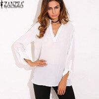 ZANZEA Women Vintage Blouse Shirt 2017 Ladies Sexy Blusas V Neck Long Sleeve Roll Up Casual Loose Chiffon Shirts Plus Size Tops
